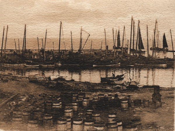 Craster fishing fleet in the harbour C1910